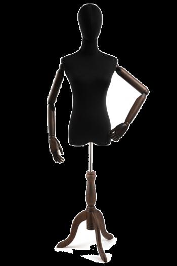 Female Display Dress Form on Wood Tripod Base (Head & Arms Version)