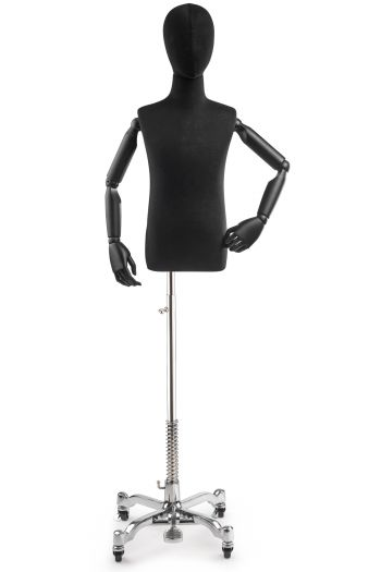 Child Display Dress Form on Metal Rolling Base (Head & Arms Version)