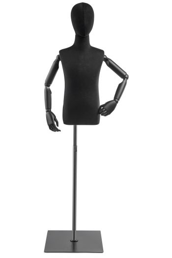 Child Display Dress Form on Metal Flat Base (Head & Arms Version)