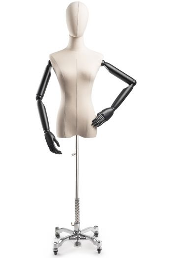 Female Display Dress Form on Metal Rolling Base (Head & Arms Version)