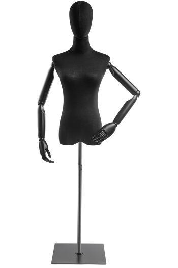Female Display Dress Form on Metal Flat Base (Head & Arms Version)