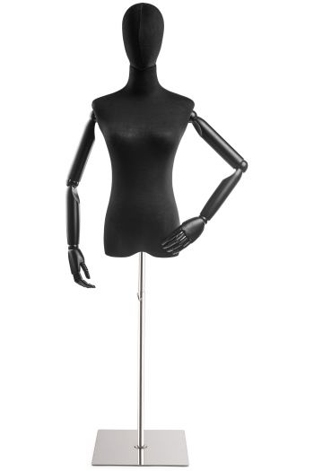Female Display Dress Form on Metal Flat Base (Head & Arms Version)