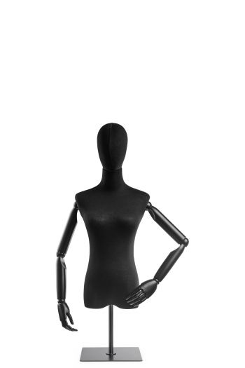 Female Display Dress Form on Metal Tabletop Base (Head & Arms Version)