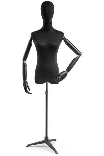 Female Display Dress Form on Metal Tripod Base (Head & Arms Version)
