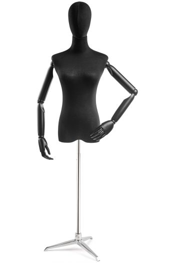 Female Display Dress Form on Metal Tripod Base (Head & Arms Version)