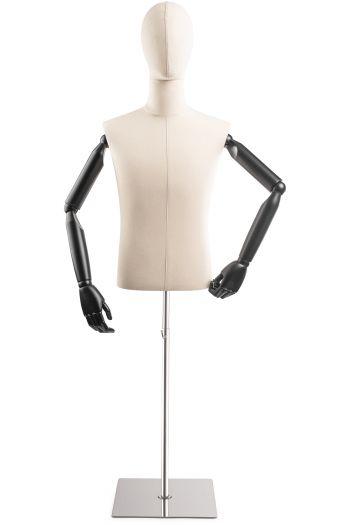 Male Display Dress Form on Metal Flat Base (Head & Arms Version)