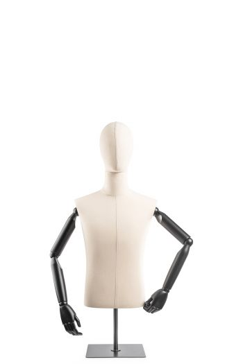 Male Display Dress Form on Metal Tabletop Base (Head & Arms Version)