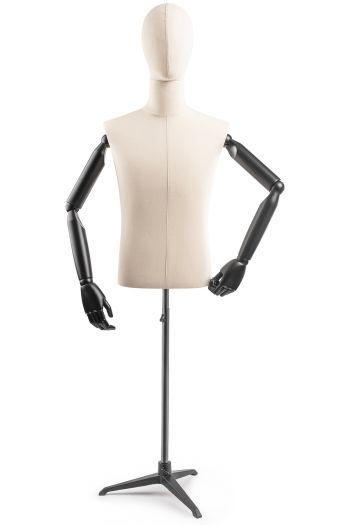 Male Display Dress Form on Metal Tripod Base (Head & Arms Version)