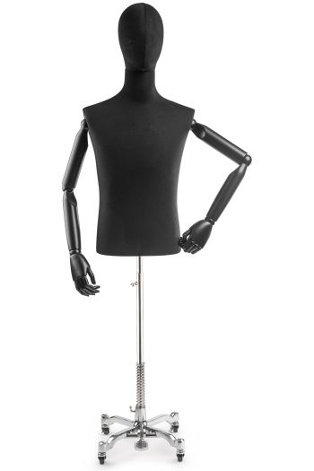Male Display Dress Form on Metal Rolling Base (Head & Arms Version)
