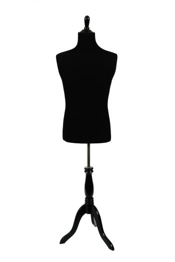 Black Male Dressform on Black Wood Tripod Base