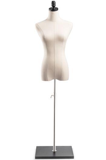 Female Display Dress Form on Wood Flat Base