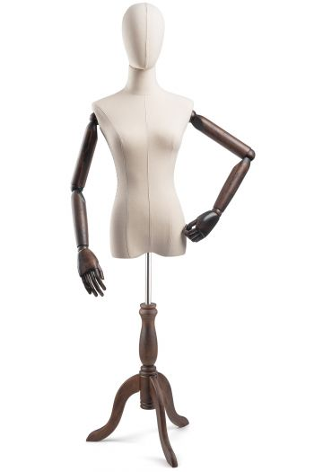 Female Display Dress Form on Wood Tripod Base (Head & Arms Version)