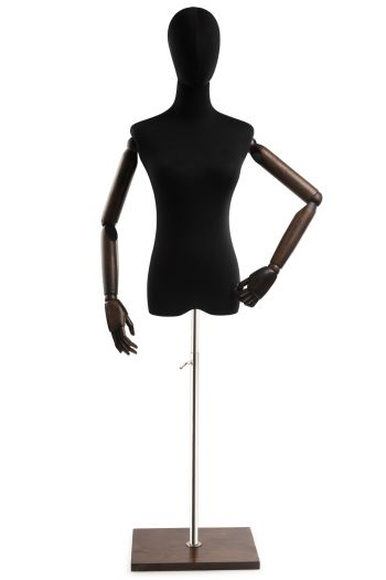 Female Display Dress Form on Wood Flat Base (Head & Arms Version)