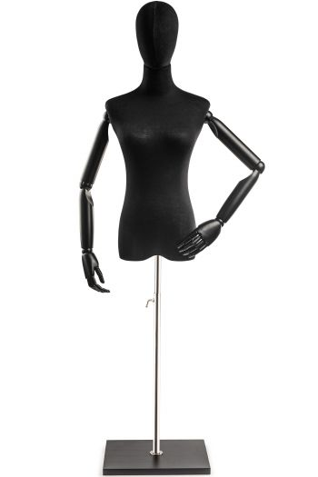 Female Display Dress Form on Wood Flat Base (Head & Arms Version)