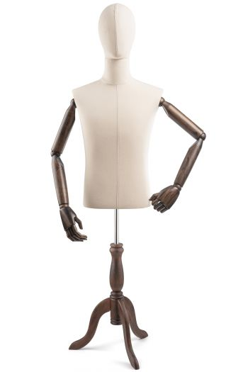 Male Display Dress Form on Wood Tripod Base (Head & Arms Version)