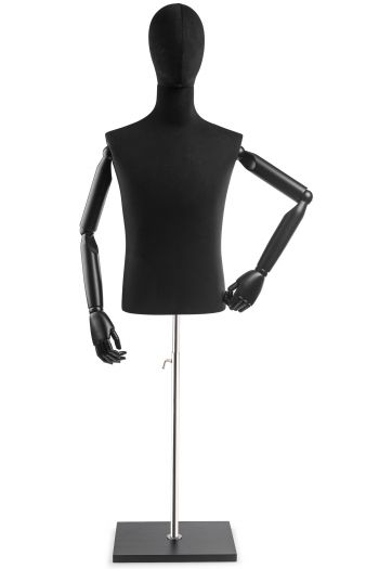 Male Display Dress Form on Wood Flat Base (Head & Arms Version)
