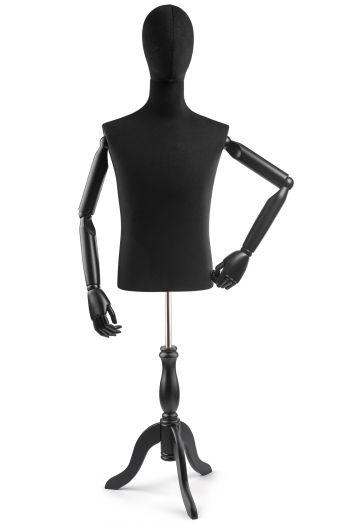 Male Display Dress Form on Wood Tripod Base (Head & Arms Version)