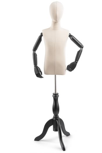 Child Display Dress Form on Wood Tripod Base (Head & Arms Version)