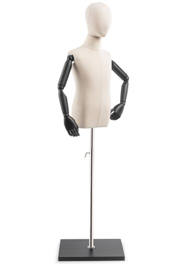 Child Display Dress Form on Wood Flat Base (Head & Arms Version)
