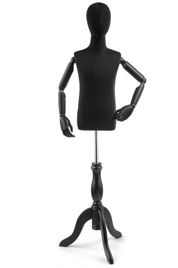Child Display Dress Form on Wood Tripod Base (Head & Arms Version)