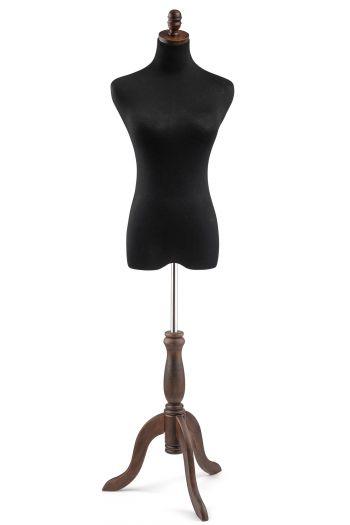Female Display Dress Form on Wood Tripod Base
