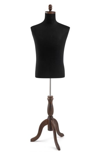 Male Display Dress Form on Wood Tripod Base