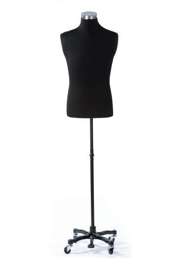 Black Male Dressform on Black Metal Rolling Base