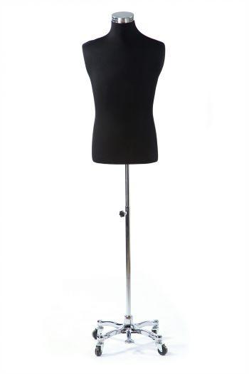 Black Male Dressform on Chrome Metal Rolling Base