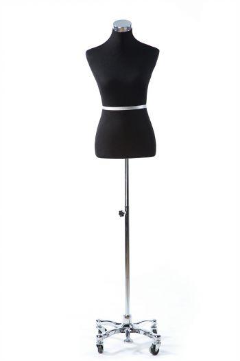 Black Female Dressform on Chrome Metal Rolling Base