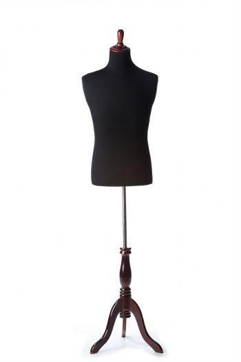 Black Male Dressform on Burgundy Wood Tripod Base