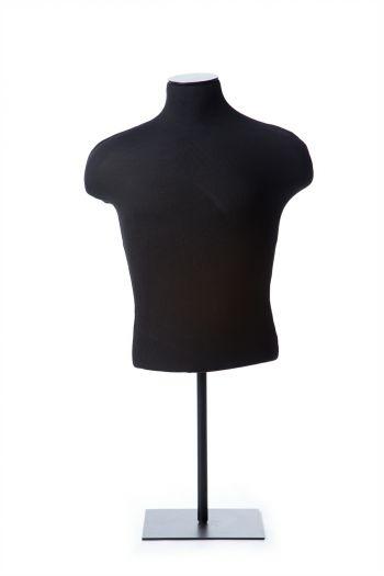 Black Male Half Torso Tabletop Dress Form on Black Metal Base