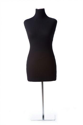 Black Female 3/4 Flat-Bottomed Torso Tabletop Dress Form on Chrome Metal Base