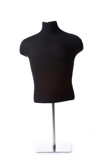Black Male Half Torso Tabletop Dress Form on Chrome Metal Base