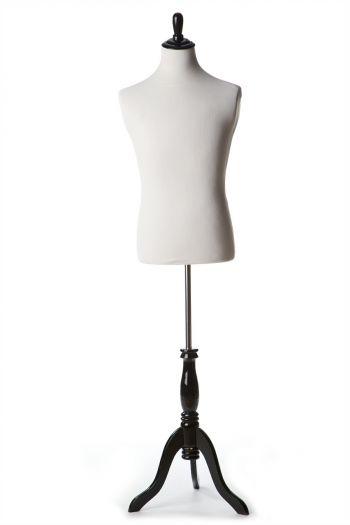 White Male Dressform on Black Wood Tripod Base