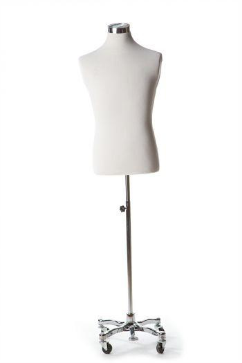 White Male Dressform on Chrome Metal Rolling Base