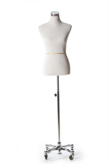White Female Dressform on Chrome Metal Rolling Base