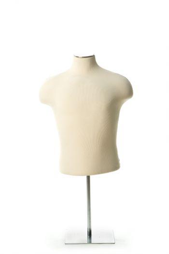 Cream Male Half Torso Tabletop Dress Form on Chrome Metal Base
