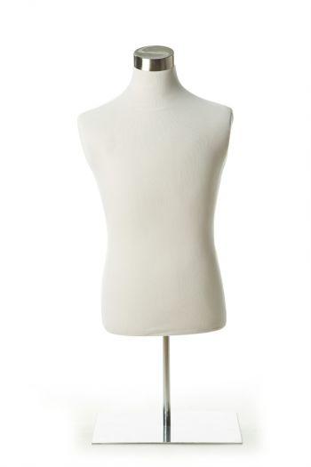 White Male Dress form on Chrome Tabletop Base