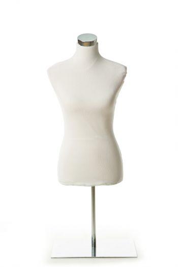 White Female Dress form on Chrome Tabletop Base