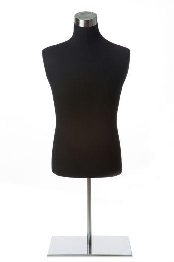 Black Male Dress form on Chrome Tabletop Base
