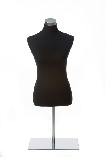 Black Female Dress form on Chrome Tabletop Base
