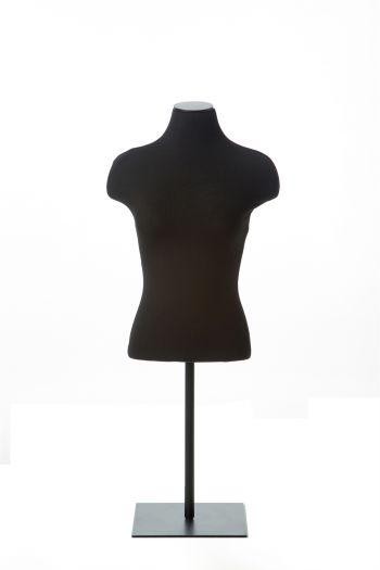 Black Female Half Torso Tabletop Dress Form on Black Metal Base