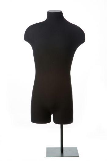 Black Male 3/4 Crotch-Bottomed Torso Tabletop Dress Form on Black Metal Base