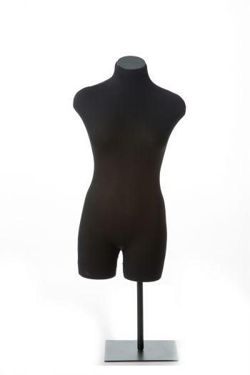 Black Female 3/4 Crotch-Bottomed Torso Tabletop Dress Form on Black Metal Base