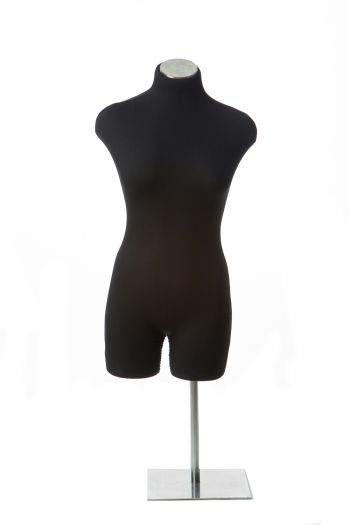 Black Female 3/4 Crotch-Bottomed Torso Tabletop Dress Form on Chrome Metal Base