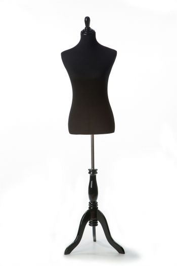Black Female Dressform on Black Wood Tripod Base