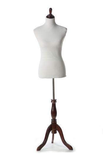 White Female Dressform on Burgundy Wood Tripod Base