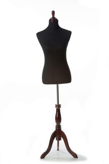 Black Female Dressform on Burgundy Wood Tripod Base