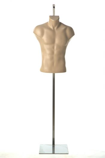 Hanging Skin Male Mannequin Armless Torso in Natural Pose (with Steel Base)