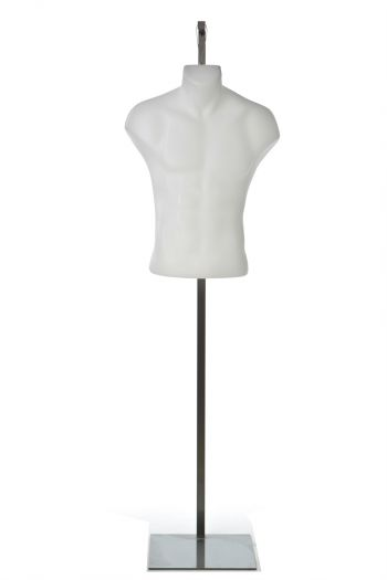 Hanging White Male Mannequin Armless Torso in Natural Pose (with Steel Base)